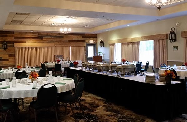 Flat Creek Banquet room setup.